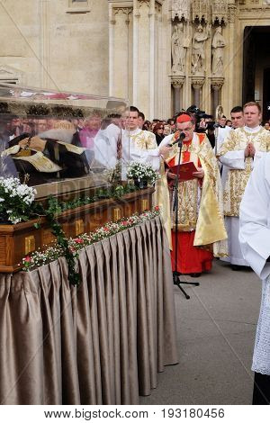 ZAGREB, CROATIA - APRIL 16: Arrival of the body of St. Leopold Mandic in Zagreb Cathedral, Croatia on April 16, 2016.