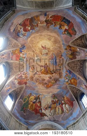 ROME, ITALY - SEPTEMBER 02: Apotheosis of St James by Silverio Capparoni fresco on the ceiling of the Church San Giacomo in Augusta in Rome, Italy on September 02, 2016.