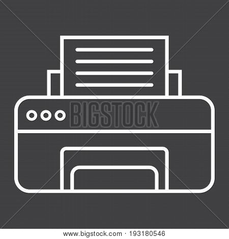 Printer line icon, fax and office, vector graphics, a linear pattern on a black background, eps 10.