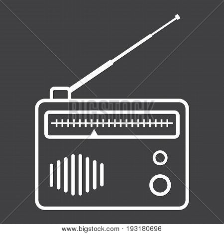 Radio line icon, fm and communication, vector graphics, a linear pattern on a black background, eps 10.