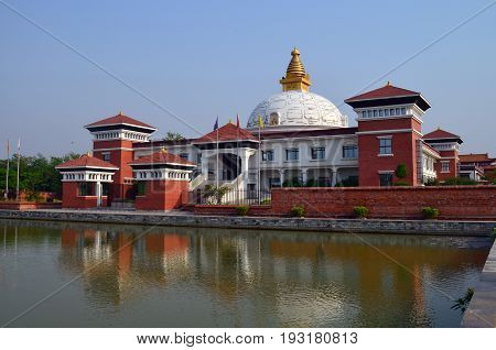 International Gautami Nuns Temple in Lumbini, Nepal - birthplace of Buddha Siddhartha Gautama.