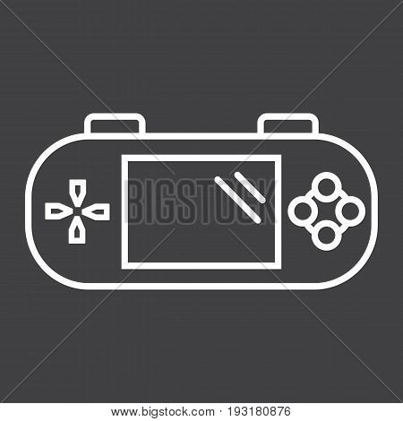 Handheld game console line icon, controller and gadget, vector graphics, a linear pattern on a black background, eps 10.