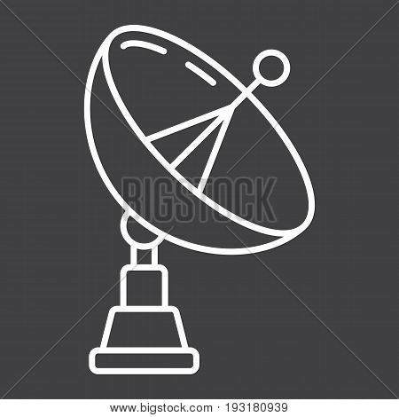 Satellite Dish line icon, antenna and radar, vector graphics, a linear pattern on a black background, eps 10.