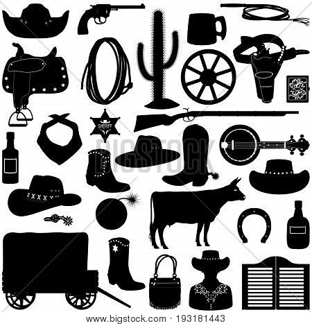Vector Cowboy Pictograms isolated on white background