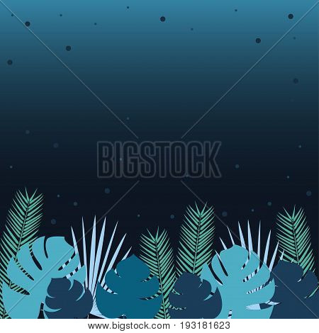 Palm leaves Vector illustration Multi colored tropical palm leaves on gradient dark background Poster template Flat design