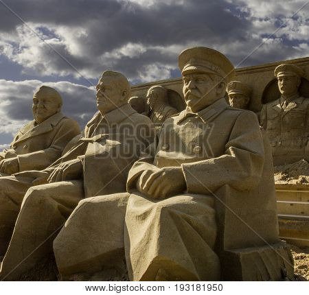 Sand sculptures of three great men after Yalta meeting. Sculptures were made and destroyed in 2010 year