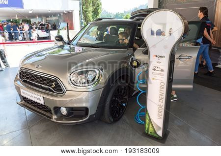 TURIN, ITALY - JUNE 10, 2017: Mini Cooper Plug-in Hybrid on display at Turin open air car show