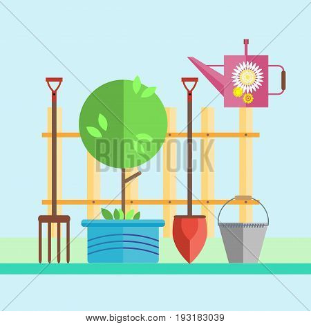 Garden. Fence. Tree in a pot, a seedling. Garden tools shovel, forks, rake, bucket, watering can. Illustration in the style of flat.