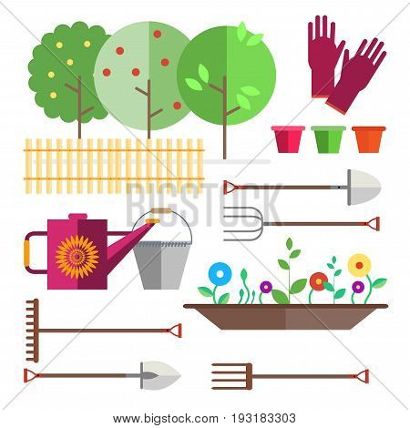 Fruit garden, fence. Seedlings flowers, shoots, sprouts. Gardening tools - gloves, watering can, bucket, shovel, pitchfork, rakes, flower pots, seedling box. Illustration in the style of flat.