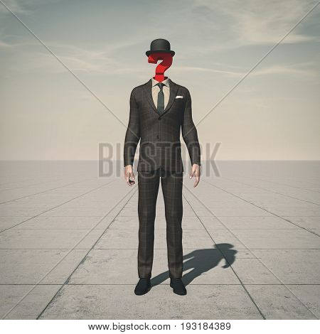 Business man with a question mark in place of head sugesting confusion. This is a 3d render illustration.