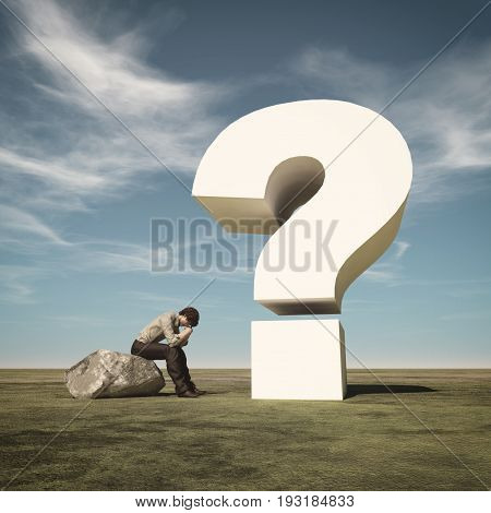 Young man sitting on a rock and thinking near a big question mark. This is a 3d render illustration.