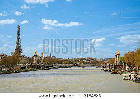 Alexander bridge over river Seine in Paris