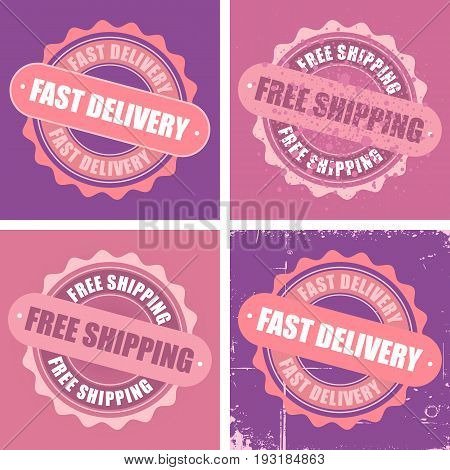 Free Shipping and Fast Delivery rubber stamp vector images.