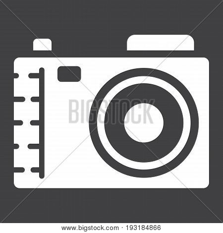 Camera solid icon, photo and capture, vector graphics, a glyph pattern on a black background, eps 10.