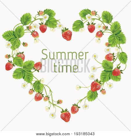 Strawberry with leaves, and flowers. Vector realistic illustration. Heart shape on white background. Design for grocery, farmers market, tea, natural cosmetics, summer garden design element.
