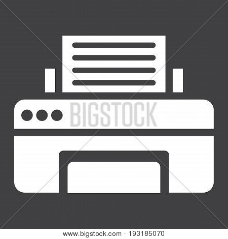 Printer solid icon, fax and office, vector graphics, a glyph pattern on a black background, eps 10.