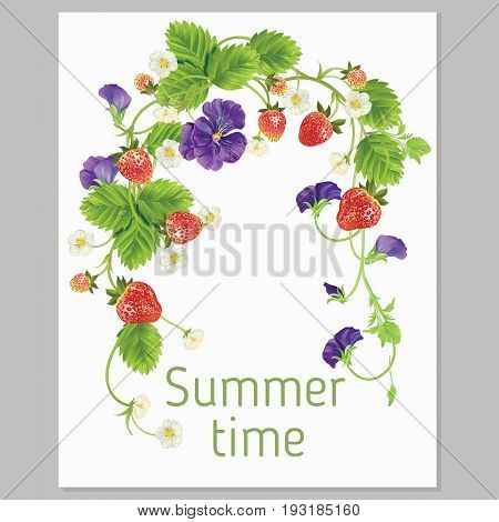 Strawberry with leave, water drops and flowers banners. Design for juice, tea, dessert menu, summer garden design element, health care products. Vector realistic illustration. With place for your text