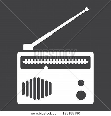 Radio solid icon, fm and communication, vector graphics, a glyph pattern on a black background, eps 10.