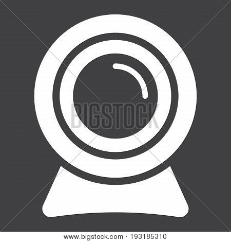 Webcam solid icon, device and camera, vector graphics, a glyph pattern on a black background, eps 10.