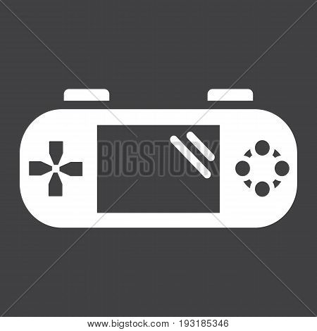 Handheld game console solid icon, controller and gadget, vector graphics, a glyph pattern on a black background, eps 10.