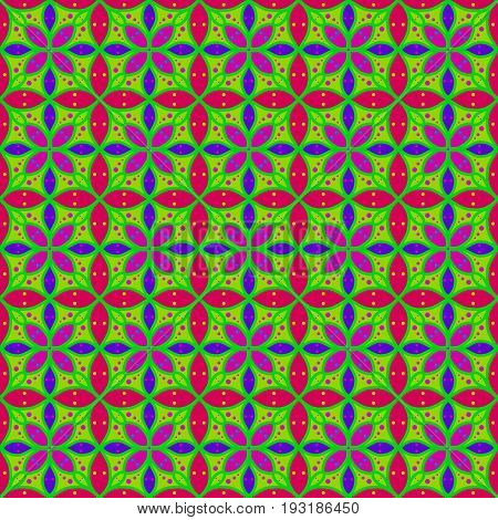 Colorful Flower On Green Background Seamless Patterns