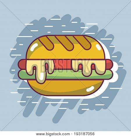 delicious hamburger fast food with calories nutrition vector illustration