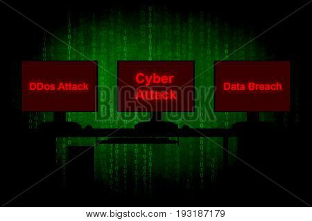 Cyber attack or Internet security concept background