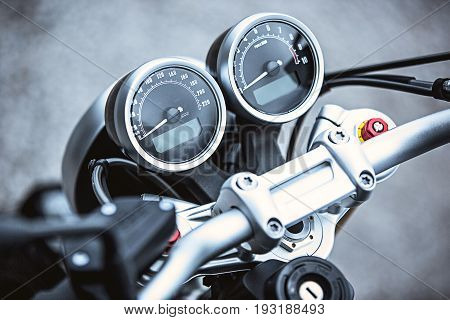 Motorcycle luxury items close-up: Motorcycle parts. Concept travel on two wheels