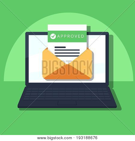 Laptop And Envelope With University Acceptance Letter. Email With Accepted Header, Subject Line.
