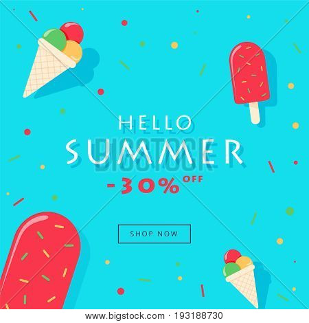 Hello Summer Sale Card Vector Illustration, Popsicle With Rainbow Sprinkles On Blue Background.