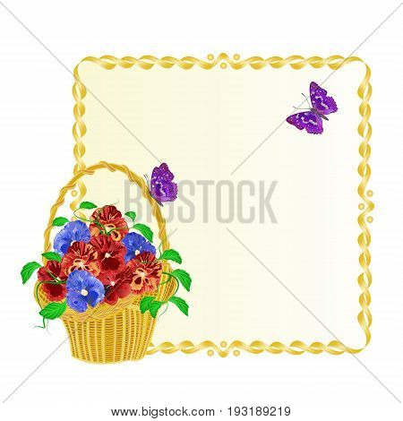 Frame with Pansies spring flowers in a basket with butterfly vintage vector illustration editable hand draw