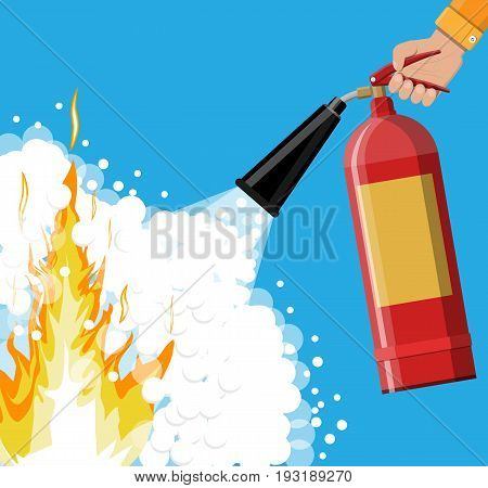 Fire extinguisher in hand with foam. Fire equipment. Vector illustration in flat style