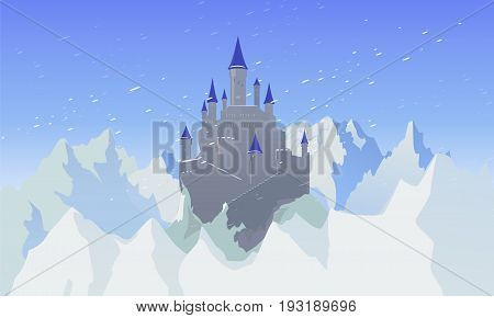 Vector Landscape With Castle And Mountaines With Snow