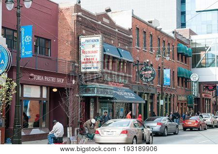 DETROIT, MI - MAY 6: View of Greektown section of downtown Detroit on May 6, 2014