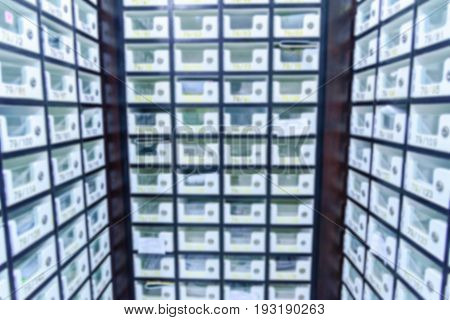 Blurred image of Locker post box or mail box in condominium.