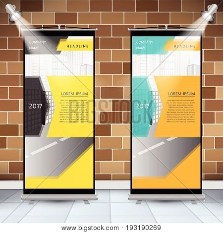 Roll Up Banner Design With Business Template