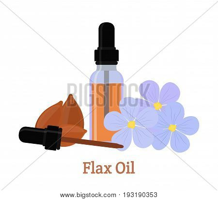 Flax natural oil. Seeds, flowers. Essential oil, cosmetics, spa, aromatherapy. Liquid in a bottle. Made in cartoon flat style