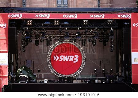 MAINZ, GERMANY - JUNE 26: An established concert stage of the SWR on the festival Mainz Johannes Night on June 26 2017 in Mainz.