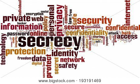 Secrecy word cloud concept. Vector illustration on white