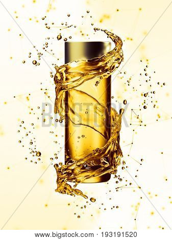 Cream bottle mock up in water splash of yellow color. 3D illustration