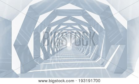 Shining Blue Tunnel Interior Perspective, 3D