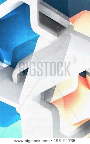 Abstract structures with blue and yellow spots. Vertical computer graphic background useful as a wallpaper image. Double exposure effect 3d render illustration