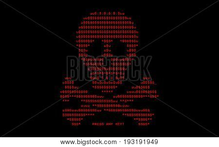 Computer screen with virus attack by virus of extortioner Petya vector illustration.