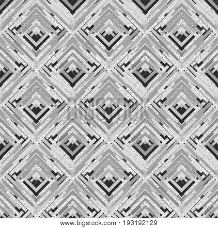 Seamless print. Retro ornament. Memphis pattern. Avant-garde graphic. Vintage illustration. Bauhaus design. Black and white backdrop. Hipster wallpaper. Monochrome art. Geometry background. Vector.