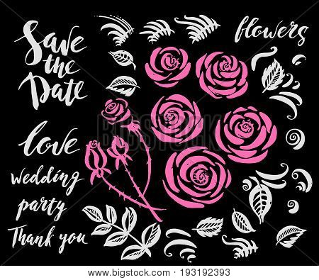 Hand drawn wedding set with rose flowers decor elements and lettering in pink and white colors. Save the date leaves buds curves brush strokes.