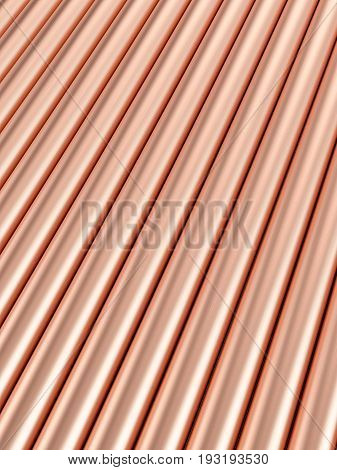 Copper Pipes Background 3D Illustration
