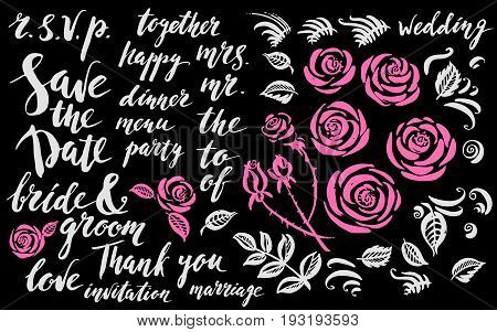 Hand drawn ink wedding set with rose flowers decor elements and lettering in pink and grey colors. Save the date leaves buds curves brush strokes.