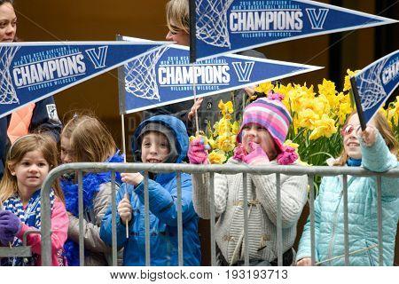 PHILADELPHIA, PA - APRIL 8: View of Celebration Parade for Villanova Men's Basketball Team, 2016 NCAA Champions on April 8, 2016