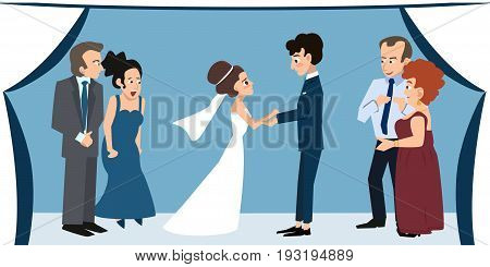 young couple with parents under chuppah at wedding ceremony - funny cartoon illustration