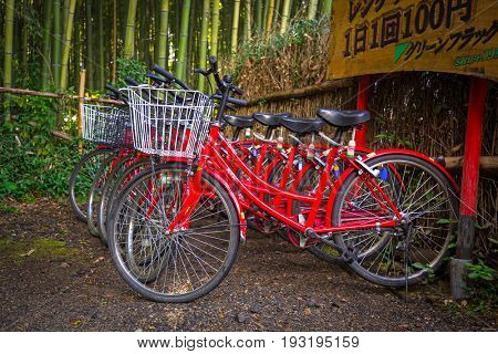 KYOTO, JAPAN - NOVEMBER 11, 2016: Bikes for rent in Arahiyama district of Kyoto, Japan. Arashiyama is a nationally designated Historic Site and Place of Scenic Beauty.